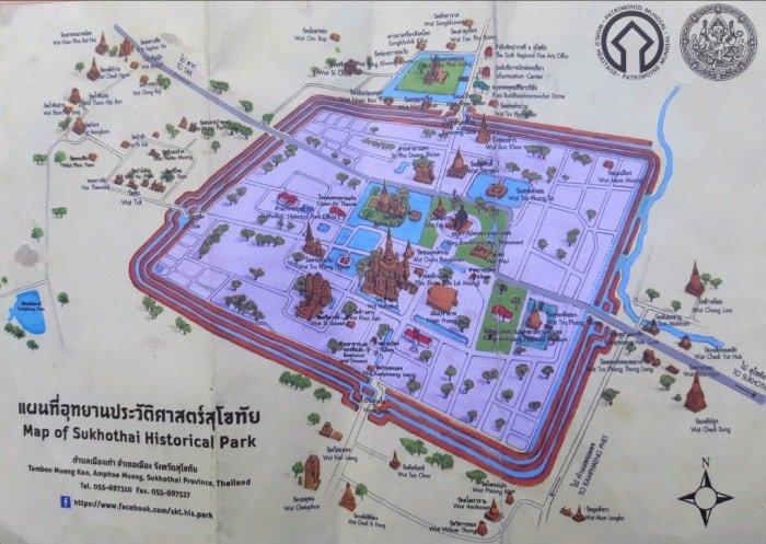 "alt=""Mappa del Sukhothai Historical Park"""